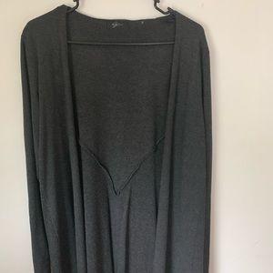 Long, grey cardigan